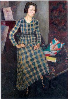 books0977:  Portrait of Nina Hamnett (1918). Roger Fry (English, 1866-1934).Oil on canvas. The Stanley & Audrey Burton Gallery.Dress f...