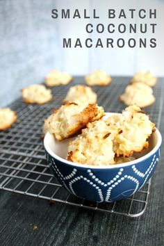 20 minutes · Vegetarian · Serves 12 · Small Batch Coconut Macaroons are 5-ingredient bites of sweet coconuty goodness. The cookies take just 5 minutes of prep and 15 minutes of baking before you get a sweet treat. Best Dessert Recipes, Fun Desserts, Great Recipes, Favorite Recipes, Roll Cookies, Cut Out Cookies, Coconut Macaroons, Coconut Recipes, Cookie Do
