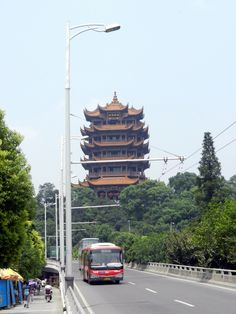 Street view of Yellow Crane Tower in Wuhan, China #travel