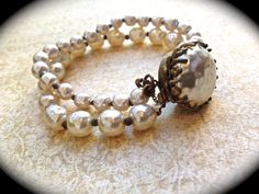 Miriam Haskell Bracelet Double Strand Pearl by JNPVintageJewelry