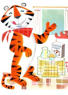 About two years ago, I tried to get a pitch off the ground to re-introduce the old Tony the Tiger for his birthday. My great friends re. Retro Advertising, Retro Ads, Vintage Advertisements, Vintage Ads, Alice Martin, Box Art, Furry Art, Cute Dogs And Puppies, Crafts For Teens