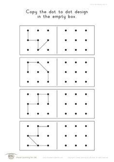 Dot to Dot Designs (Spatial Skills Worksheets) Visual Perceptual Activities, Montessori Activities, Preschool Math, Preschool Worksheets, Visual Motor Activities, Mental Maths Worksheets, Weather Worksheets, Coding For Kids, Math For Kids