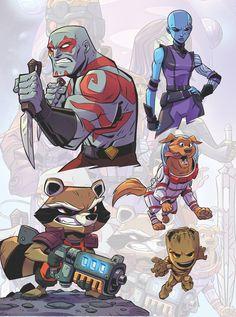 Drawing Marvel Guardians of the Galaxy Drawing Cartoon Characters, Character Drawing, Marvel Characters, Comic Character, Cartoon Drawings, Character Design, Chibi Marvel, Marvel Art, Comic Books Art