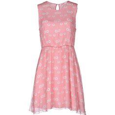 Blugirl Folies Short Dress ($54) ❤ liked on Polyvore featuring dresses, pink, red chiffon dress, mini dress, pink ruffle dress, pink sleeveless dress and short chiffon dress