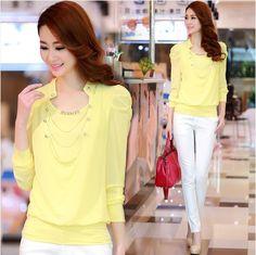 2015 moda de nueva blusa para para mujer blusa de gasa verano dama top mujer ropa de trabajo ropa de la camisa elegante blanco, amarillo S ~ XL(China (Mainland))