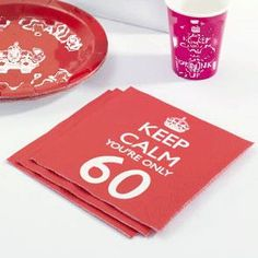 Keep Calm 60th Birthday Napkins Bright red and white Keep Calm 60th Birthday napkins supplied in a pack of 20 paper napkins. These 3 ply luncheon napkins measure 33 cm x 33 cm. View this product at... http://www.soraiseyourglasses.com/prod/keep-calm-60th-birthday-napkins