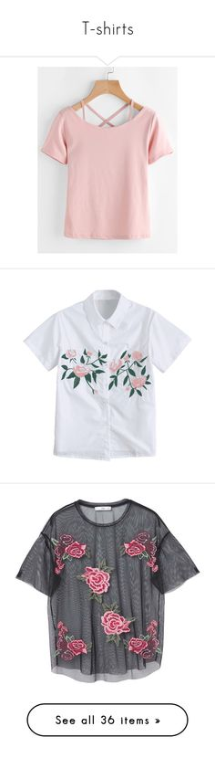 """""""T-shirts"""" by aletraghetti on Polyvore featuring tops, t-shirts, pink, short sleeve t shirt, stretch v neck t shirts, short sleeve v-neck tee, v neck tee, polyester t shirts, short-sleeve shirt y button down shirt"""