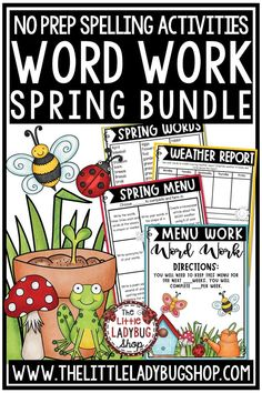 You will love this Spring Themed Spelling & Word Work Activities for your Words, Spelling, or Vocabulary programs. These activities can be used with ANY spelling or word list! Easily fits in Literacy Centers, Center small group, or homework activities! Perfect for 2nd grade, 3rd grade, 4th grade and home school students. #wordworkactivities #spellingactivities