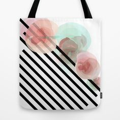 Watercolor+Floral+with+Stripes+Tote+Bag+by+Pencil+Me+In+™+-+$22.00