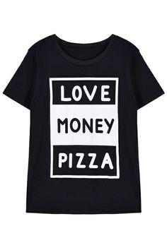 ROMWE | ROMWE Letters Print Short-sleeved Black T-shirt, The Latest Street Fashion