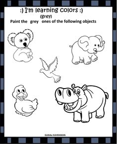 Learning Colors, Kindergarten Worksheets, Gray Color, Objects, Snoopy, Classroom, Grey, Painting, Animals