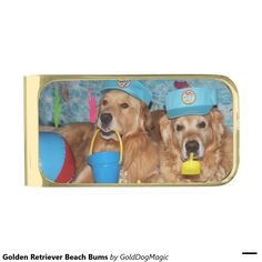 Golden Retriever Beach Bums Gold Finish Money Clip