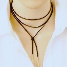 Long Black Leather Rope Gold Tube False choker Collar Necklace 150cm women - Glamorous Gift Ideas
