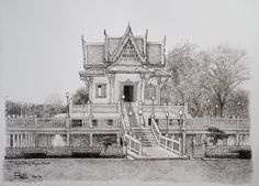 Fountain pen on paper. Rayong, Landscape Sketch, Paper Size, Fountain Pen, Cathedral, Thailand, Louvre, Building, Travel