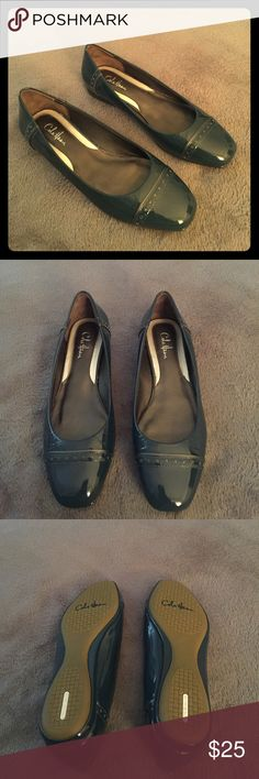 NWOT Dark Blue Cole Haan Patent Leather Flats 🎉🎉🎉🎉🎉🎉🎉🎉🎉🎉 - New without tags  - Color: Dark Blue - Size: 6 - Brand: Cole Haan Nike Air - One small scuff on the side; not that noticeable  - Great for work! Cole Haan Shoes Flats & Loafers