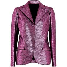 LANVIN  Metallic coated-cotton blazer (57,175 INR) ❤ liked on Polyvore featuring outerwear, jackets, blazers, lanvin, lanvin jacket, purple blazer, lanvin blazer and metallic jackets