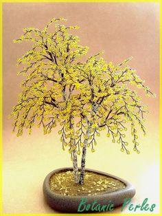 Arbres en perles Bouleaux jaunes - couleur automne