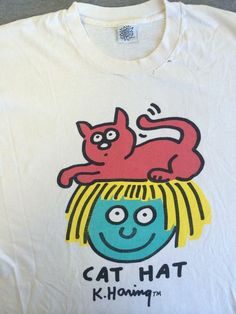 KEITH HARING POP SHOP Rare vintage 80s cotton T SHIRT Cat Hat USA Made XL #PopShop #ShortSleeve: Hats Usa, Rare, Cats Hats, Haring Pop, Fun Vintage, Pop Shops, Keith Haring, Popshop Shortsleev, 80S Cotton