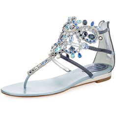 Rene Caovilla Crystal-Chandelier Thong Sandal ($1,515) ❤ liked on Polyvore featuring shoes, sandals, flats, rasteirinha, mixed blue, blue sandals, crystal sandals, toe thong sandals, rene' caovilla sandals and flat thong sandals