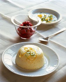 Citrus Sponge Pudding with Rhubarb Sauce from Martha Stewart.com....aside from sugar,salt,eggs, and milk, only other ingredients are lemon lime, and Rhubarb.