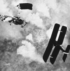 World War I: Aerial Combat. A German plane being ripped to shreds.