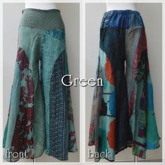 in stock now<3 Patchwork asian Pants-color Green- #naturaleeza #online #store #hippiefashion