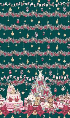 Baby the Stars Shine Bright - Kume-Chan Christmas Holly Night Bright Wallpaper, Kawaii Wallpaper, Cute Backgrounds, Cute Wallpapers, Iphone Wallpapers, Kawaii Background, Kawaii Room, Angelic Pretty, Paper Hearts