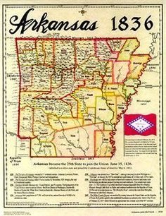 Arkansas became the state to join the Union on June This 1836 map, showing the 35 counties, was reproduced in Thermocolor on Parchtone paper, from the Fletcher-Boeselt Collection. x 16 Map Of Arkansas, Camden Arkansas, Batesville Arkansas, Fort Smith, Family Roots, State Map, Historical Maps, Vintage Maps, Cartography