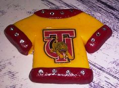 Polymer Clay T-Shirt Cabochon / Flat Backed - Pin / Brooch - Charm / Pendant -Yellow and Red accents with Swarovski Crystals Golden Tigers