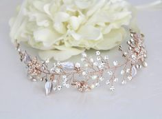 Rose Gold cabello vid, casco de oro rosa de la boda, accesorio del pelo de la boda, pedazo principal de la hoja, venda de Rose Gold, pelo de estilo Vintage, novia