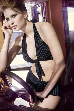 Nicole Olivier Pinstripe Bikini, Designer Halter Neck - Lilylola