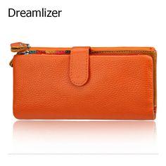 Dreamlizer Brand 2016 Genuine Leather Wallet women Wallets Design Fashion Designer Purses for Women Card Holder With Coin Pocket