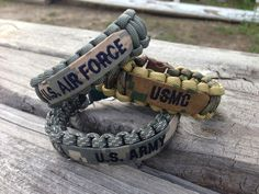 Paracord Bracelet with Name Tape / Army / Air Force / Marines on Etsy, $10.50
