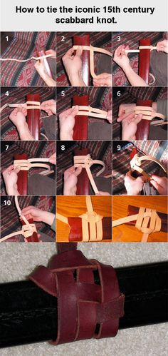 Reenactors seem to love this knot to a ridiculous degree. I've seen people walking around at Viking festivals with century swords scabbards suspended with this knot. That's pretty much like a century gunner carrying his aqueous dangling from a 21 Cosplay Tutorial, Cosplay Diy, Paracord, Leather Projects, Leather Working, Leather Craft, Fascinator, Projects To Try, Arts And Crafts