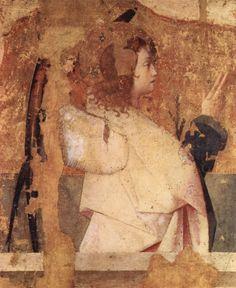 Antonello da Messina.  Polyptychon des Hl. Gregor, Fragment der linken oberen Tafel, Szene: Verkündigungsengel. 1473, Holz, 65 × 62 cm. Messina, Museo Nazionale. Italien. Renaissance.  KO 02337