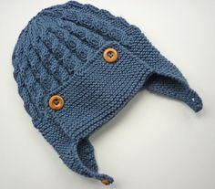 (6) Name: 'Knitting : Cabled  Baby Aviator Hat - Dayton