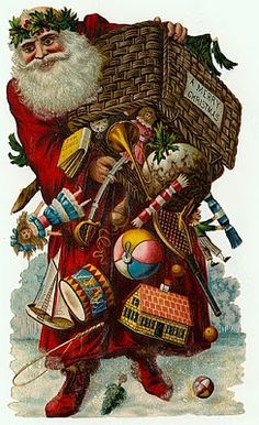 Santa with basket of toys