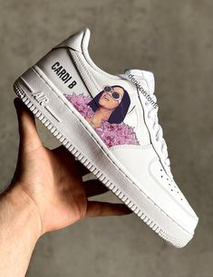 All Nike Shoes, Nike Shoes Air Force, White Nike Shoes, Hype Shoes, Cardi B, Custom Painted Shoes, Custom Shoes, Jordan Shoes Girls, Girls Shoes