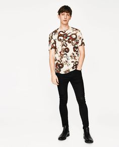 Image 1 of FLOWERS AND SNAKES T-SHIRT from Zara