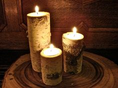 Beautiful Birch Bark Tea Light Candle Holders - Set of Three on Etsy, $11.50