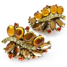 Vintage Floral Amber Glass Cabochon Leaf Clip On Earrings | Clarice Jewellery | Vintage Costume Jewellery