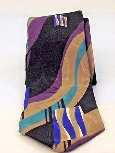 "Ketch Classic tie men's necktie Abstract purple blue black tan 56"" polyester   #KetchClassic #NeckTie"