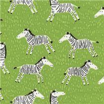 lime green cute black white zebra fabric by Timeless Treasures