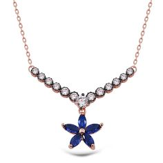 925 Sterling Silver Rose Plating Zircon Stone Parlimentary Color Flower Necklace