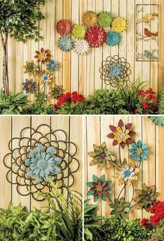 Metal flowers . Grarden art . Fence art . Fences are the poor man's wall: they might not prevent someone from trespassing, but they'll certainly imply that you would rather that they didn't