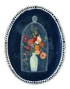 such a cute watercolour illustration :) bell jar by beccastadtlander on Etsy, $24.00