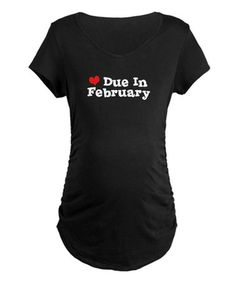 Another great find on #zulily! Black 'Due in February' Maternity Tee #zulilyfinds