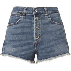 Lou Button Fly Shorts ($69) ❤ liked on Polyvore featuring shorts, bottoms, denim, high-waisted cut-off shorts, cut-off jean shorts, cut off shorts, short denim shorts and high-waisted cutoff shorts