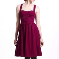Anthropologie dress Anthropologie dress by HD in Paris. Ruched Corduroy Dress. Deep fuchsia color with Ruched front and back. Adjustable / Removeable Straps. Can be worn strapless, halter, or crisscrossed back. Zipper in the back and stretchy sides makes it comfortable and easy. Boning in the bodice makes the dress stay up easily when worn strapless. Soft and velvety corduroy fabric. Perfect dress to wear every day with leggings/tights, boots, and a cardigan in the fall or dress up with…