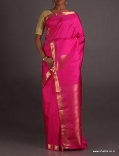 Leela Subtle Blush Brocade Border Pallu Wedding #SalemSilkSaree